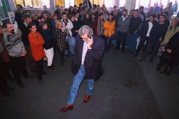 Slavko Ćuruvija sa redakcijom Dnevnog telegrafa, foto Predrag Mitić, Slavko Ćuruvija fondacija