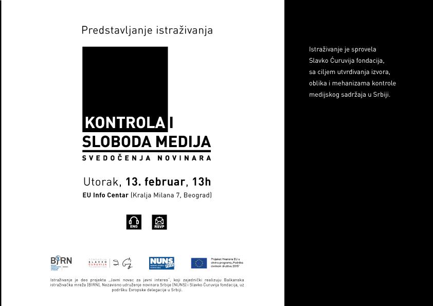 Kontrola i sloboda medija - SCF - 13. februar 13h - pozivnica